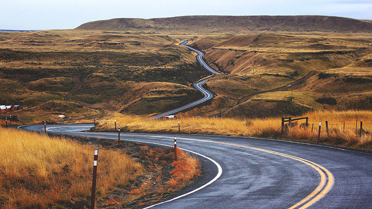 Photo of a winding road