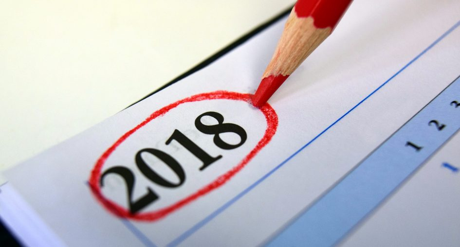 Image of a calendar with 2018 circled in red.
